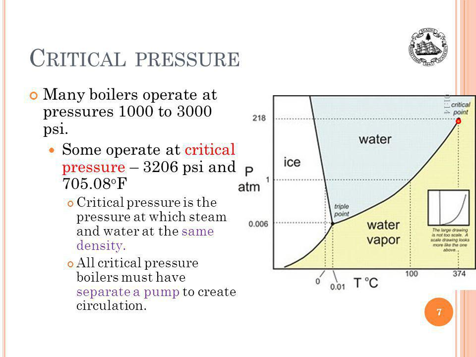 Critical pressure Many boilers operate at pressures 1000 to 3000 psi.
