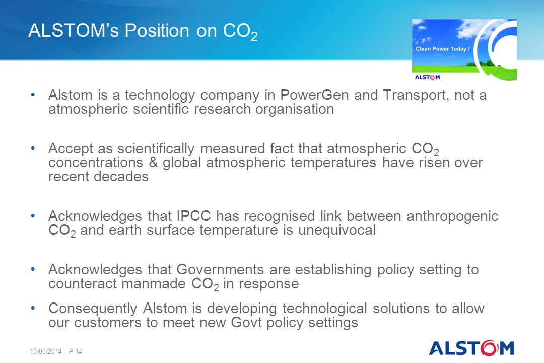 ALSTOM's Position on CO2