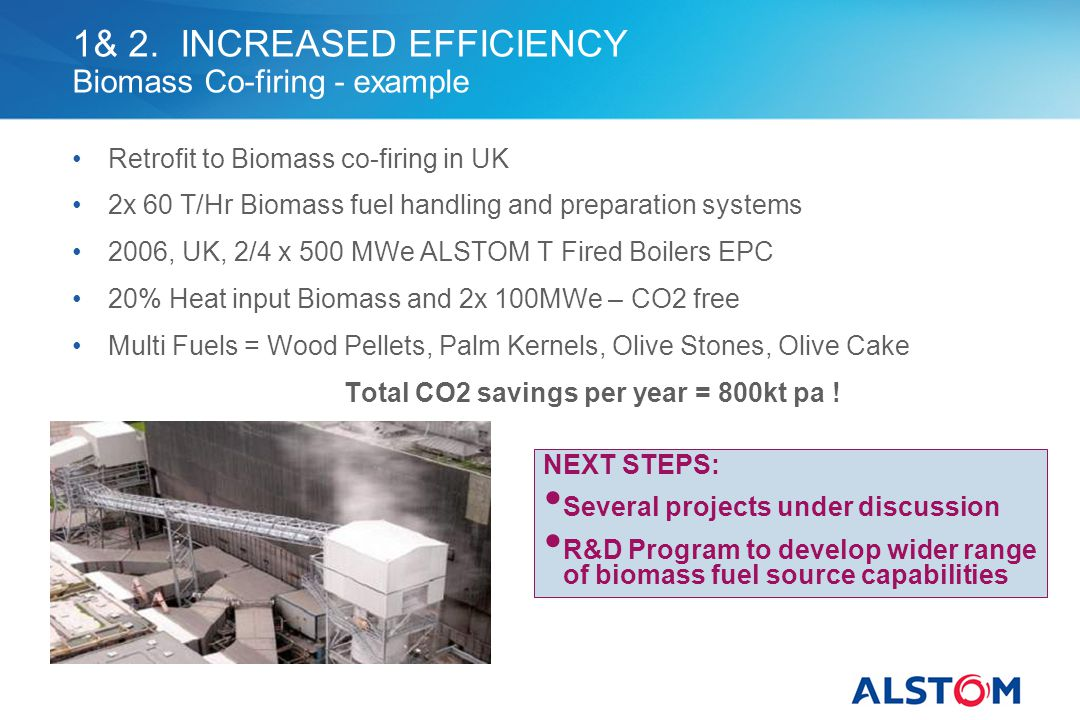 1& 2. INCREASED EFFICIENCY Biomass Co-firing - example