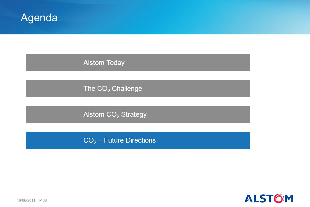 Agenda Alstom Today The CO2 Challenge Alstom CO2 Strategy