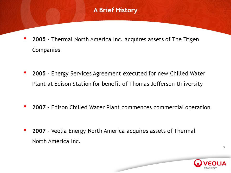 A Brief History April 1, 2017. 2005 – Thermal North America Inc. acquires assets of The Trigen Companies.