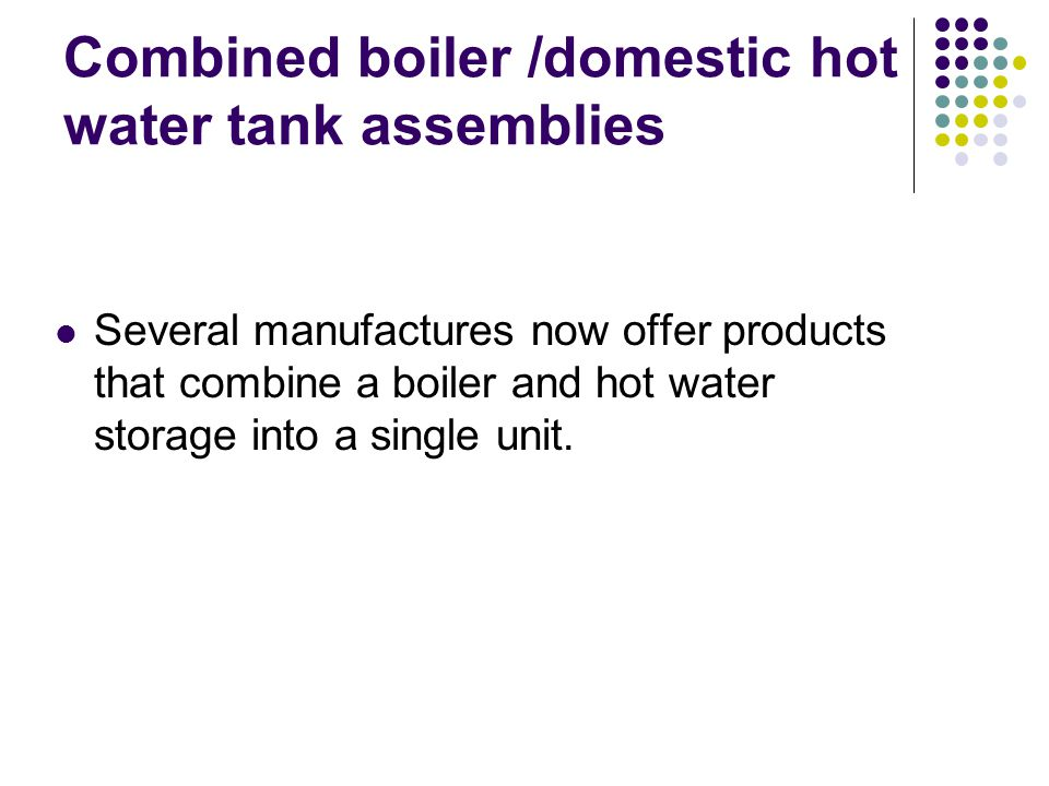Combined boiler /domestic hot water tank assemblies