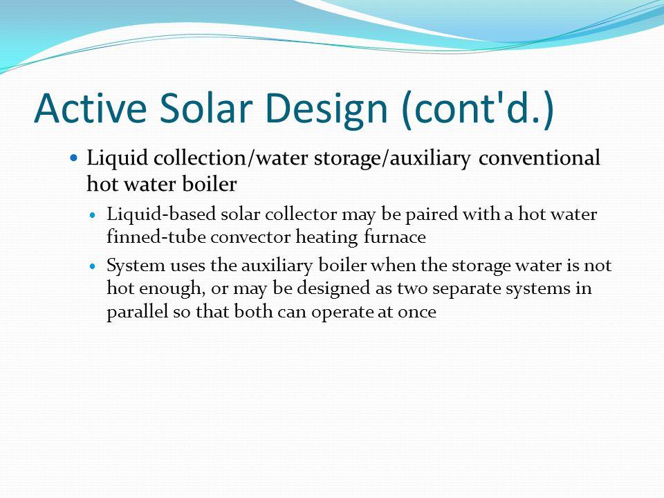 Active Solar Design (cont d.)
