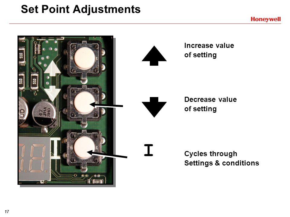I Set Point Adjustments Increase value of setting Decrease value