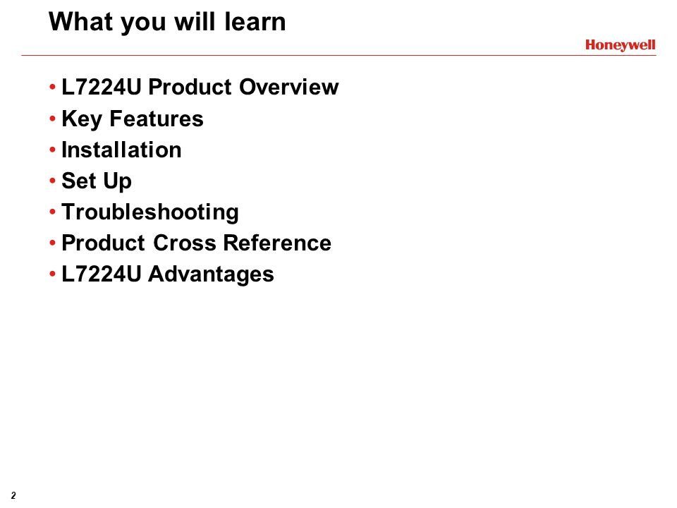 What you will learn L7224U Product Overview Key Features Installation