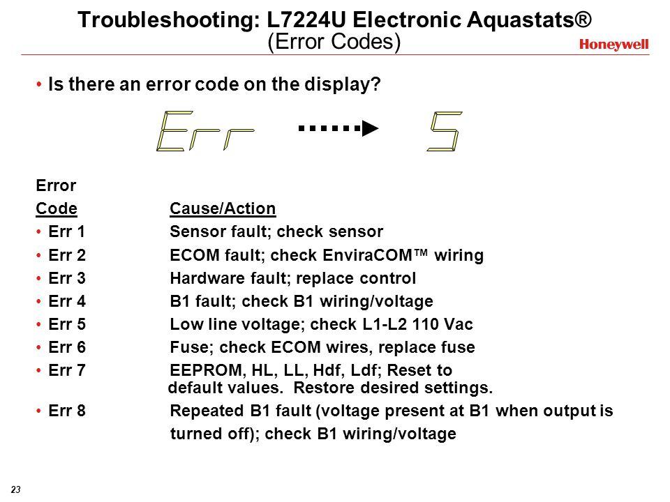 Troubleshooting: L7224U Electronic Aquastats® (Error Codes)