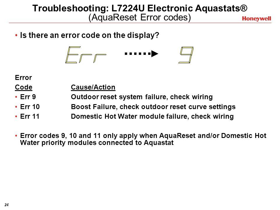 Troubleshooting: L7224U Electronic Aquastats® (AquaReset Error codes)