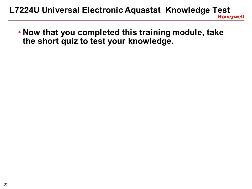 L7224U Universal Electronic Aquastat Knowledge Test