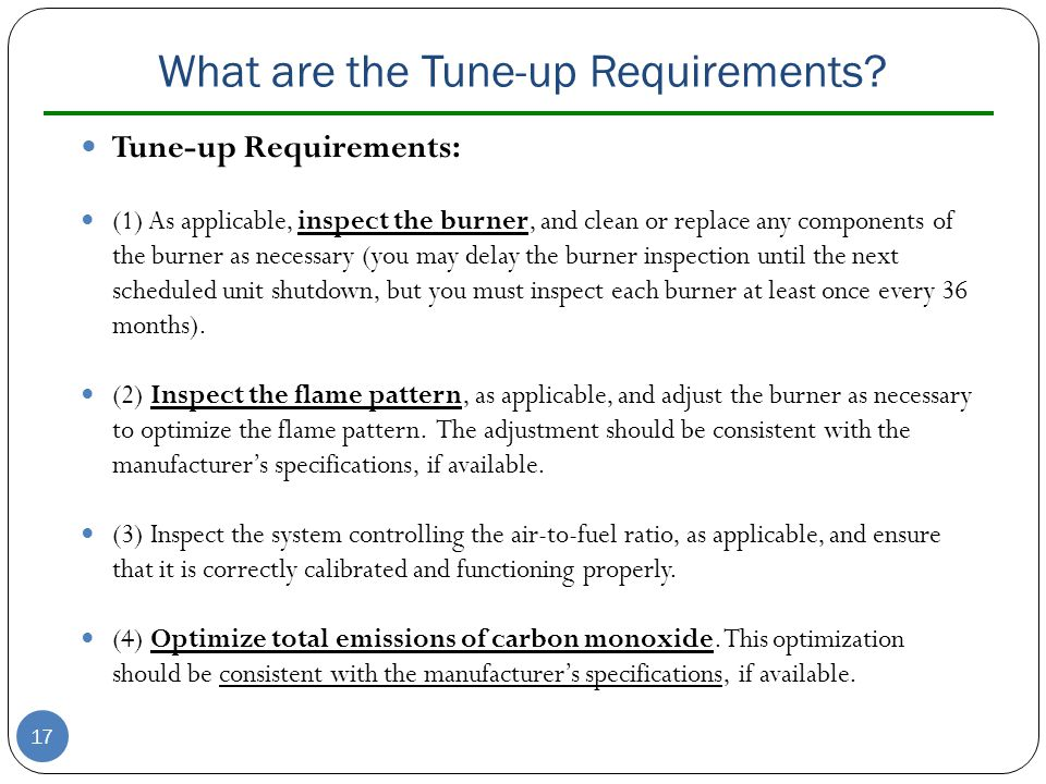 What are the Tune-up Requirements