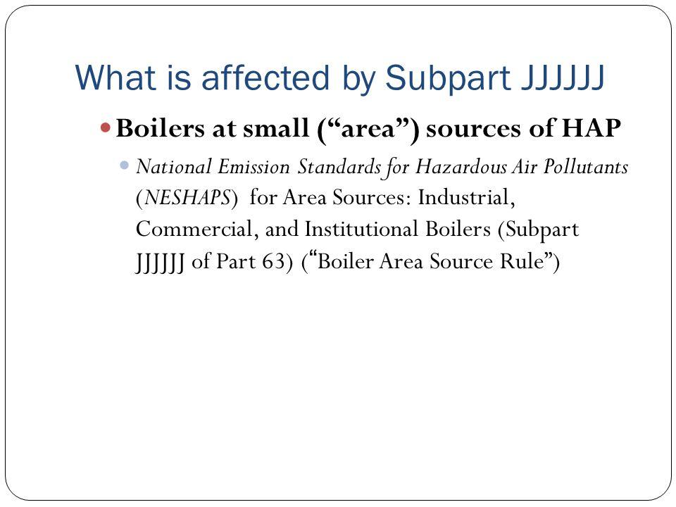 What is affected by Subpart JJJJJJ