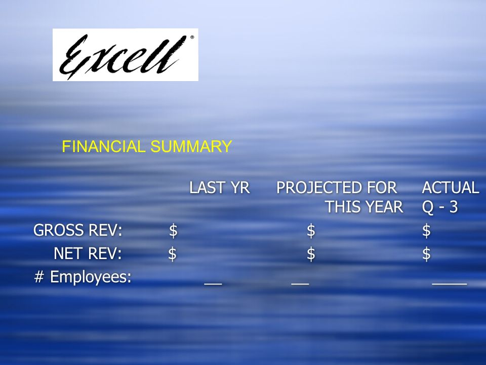 FINANCIAL SUMMARY LAST YR PROJECTED FOR ACTUAL THIS YEAR Q - 3. GROSS REV: $ $ $