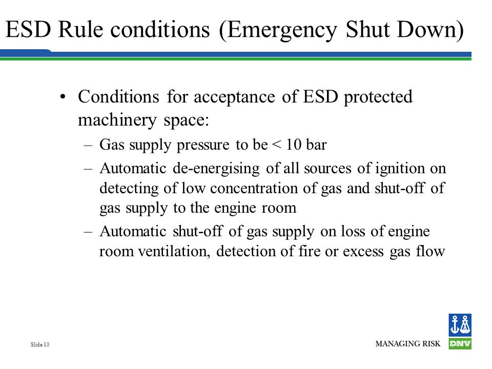 ESD Rule conditions (Emergency Shut Down)