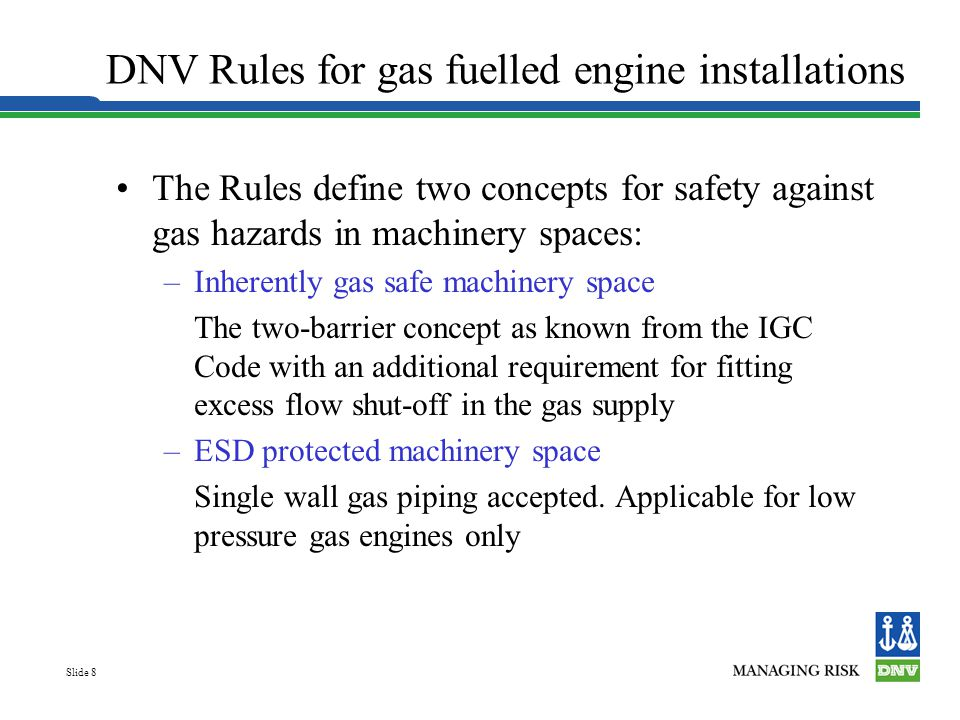 DNV Rules for gas fuelled engine installations