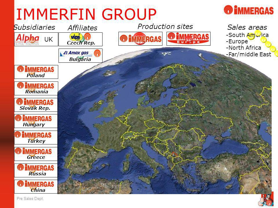IMMERFIN GROUP Production sites Subsidiaries Affiliates Sales areas UK