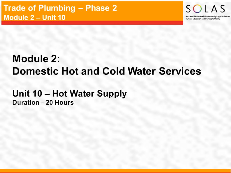 Domestic Hot and Cold Water Services