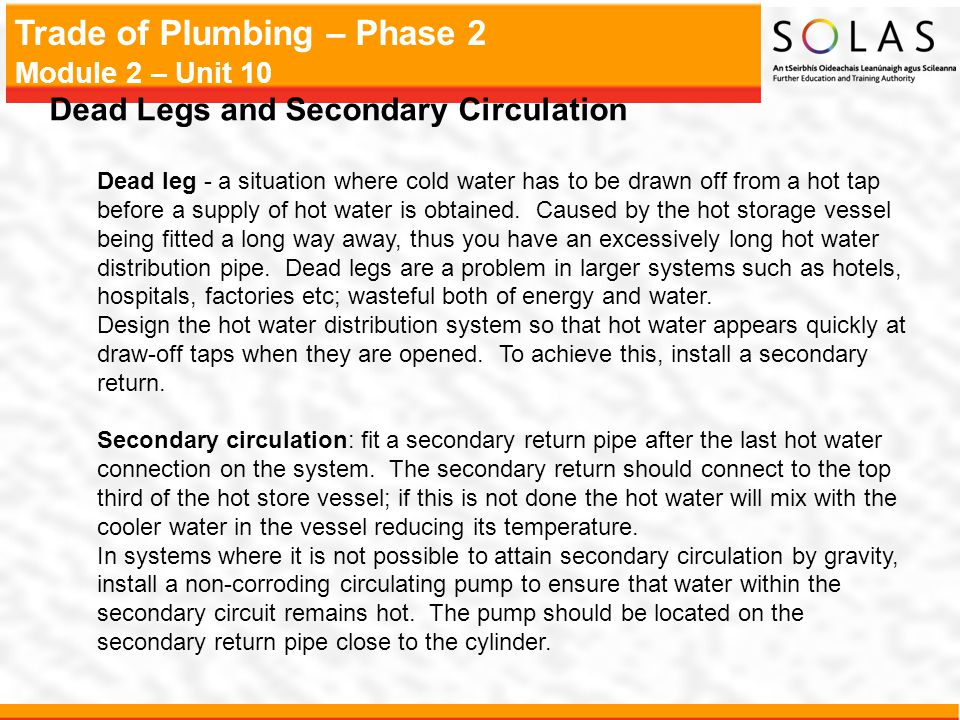 Dead Legs and Secondary Circulation