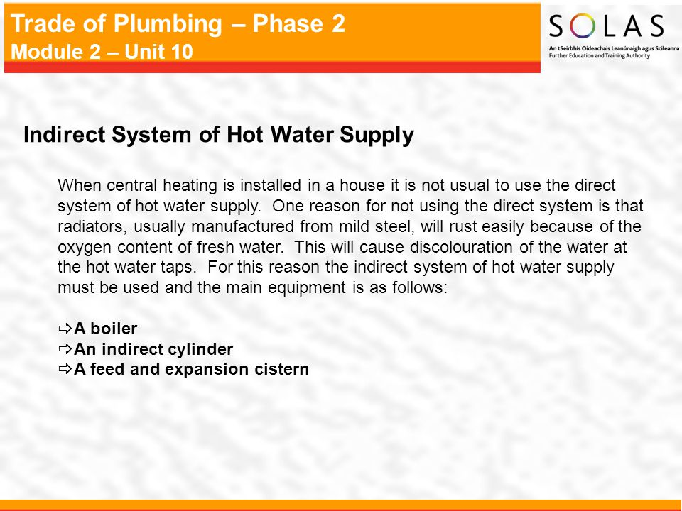 Indirect System of Hot Water Supply