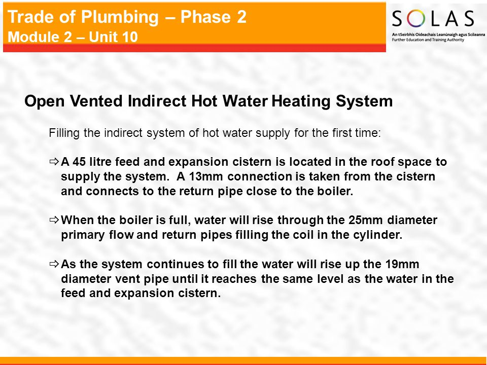 Open Vented Indirect Hot Water Heating System