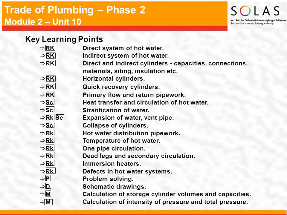 Key Learning Points RK Direct system of hot water.