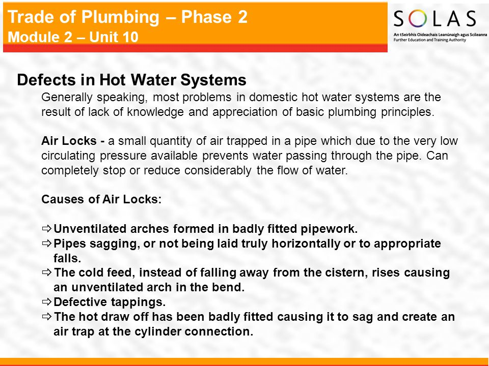 Defects in Hot Water Systems