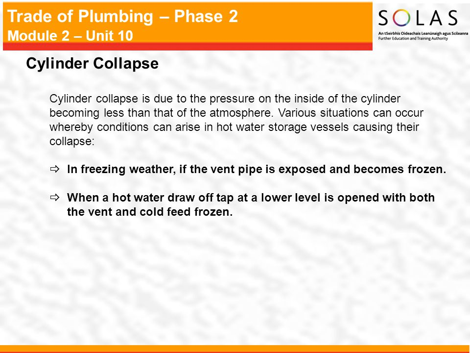 Cylinder Collapse Cylinder collapse is due to the pressure on the inside of the cylinder.