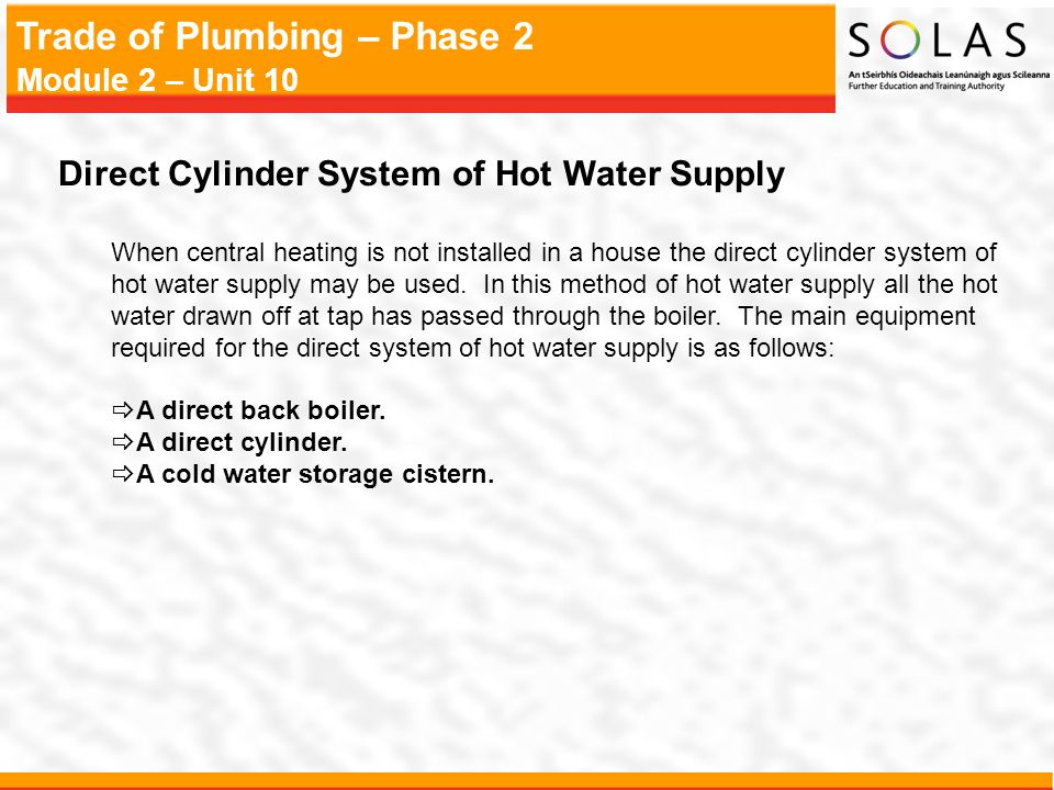 Direct Cylinder System of Hot Water Supply