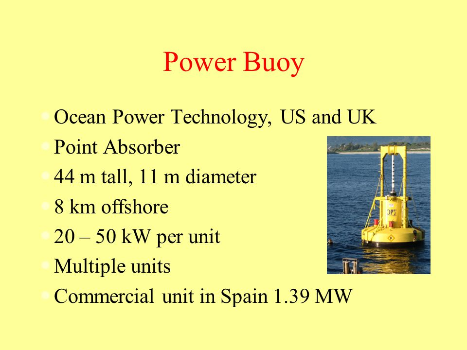 Power Buoy Ocean Power Technology, US and UK Point Absorber