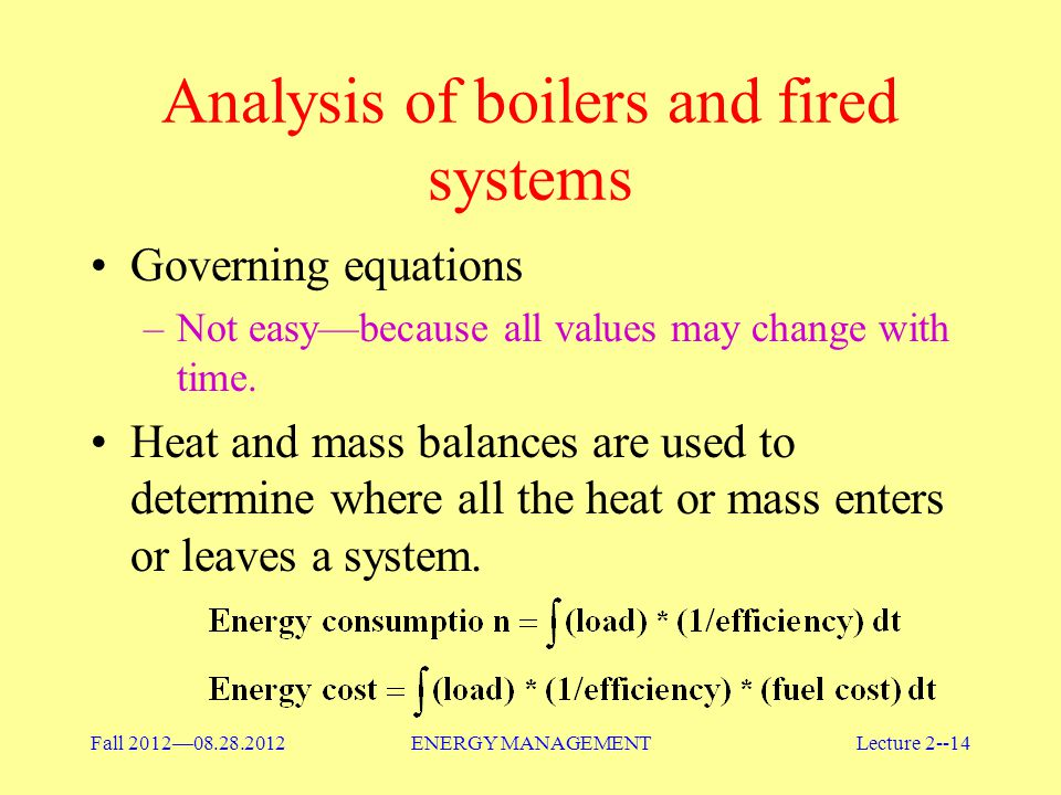 Analysis of boilers and fired systems