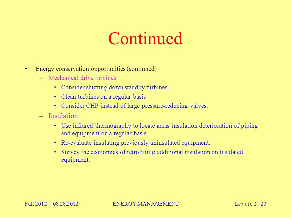 Continued Insulation: Energy conservation opportunities (continued)