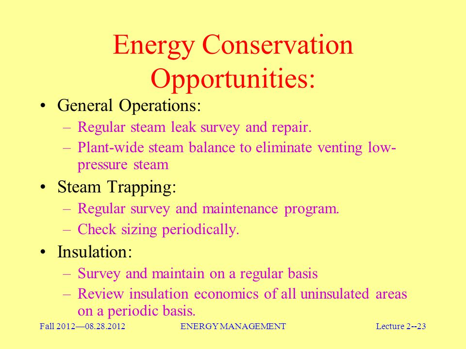 Energy Conservation Opportunities: