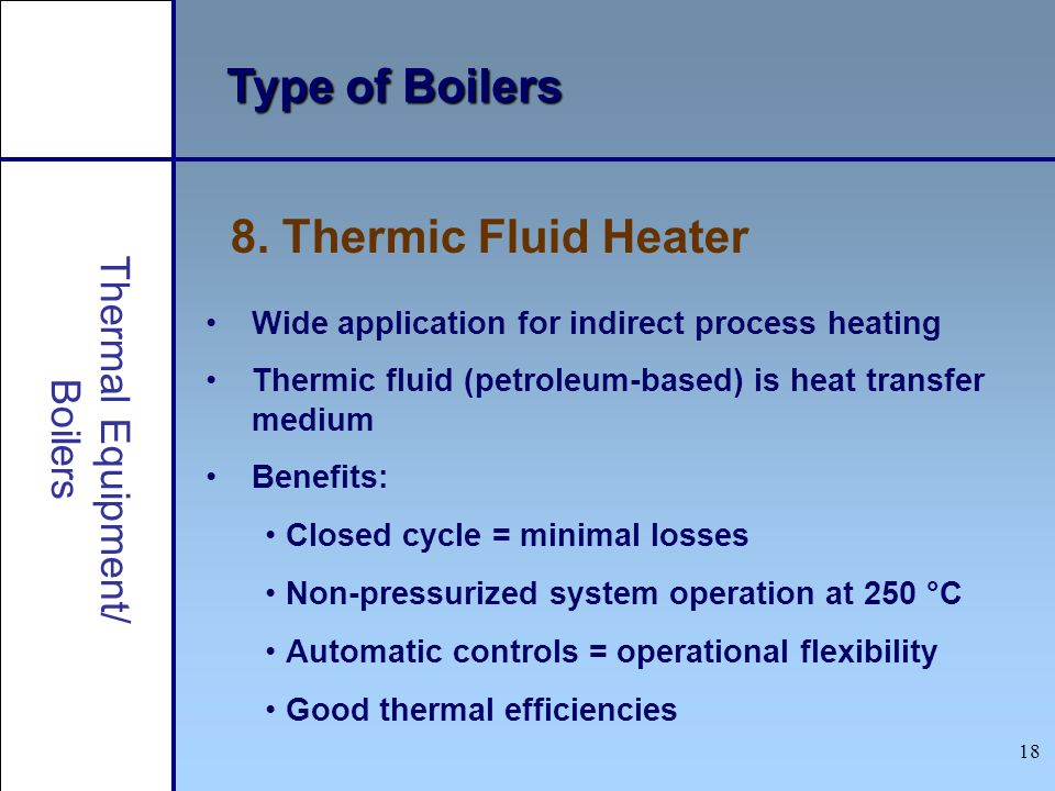 Type of Boilers 8. Thermic Fluid Heater Thermal Equipment/ Boilers