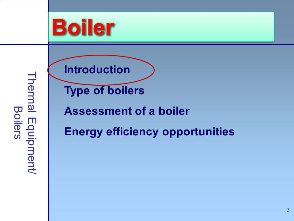 Boiler Introduction Type of boilers Assessment of a boiler
