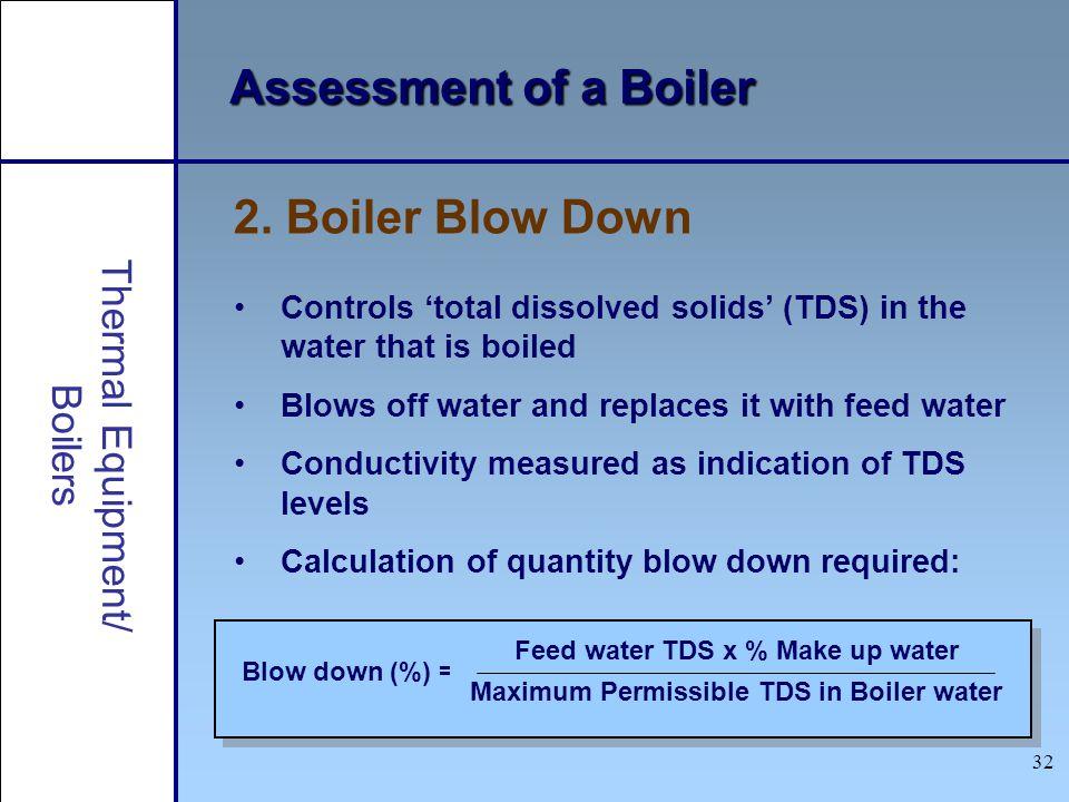 Assessment of a Boiler 2. Boiler Blow Down Thermal Equipment/ Boilers