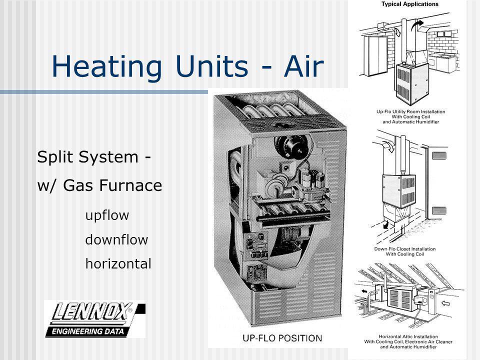 Heating Units - Air Split System - w/ Gas Furnace upflow downflow