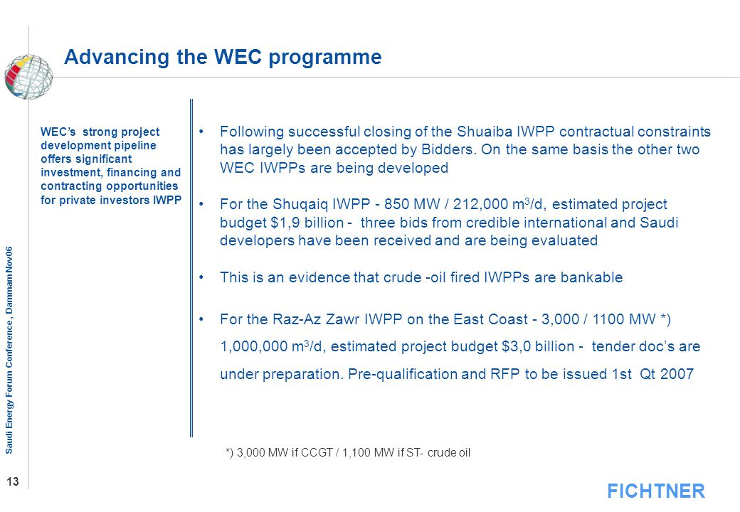 Advancing the WEC programme