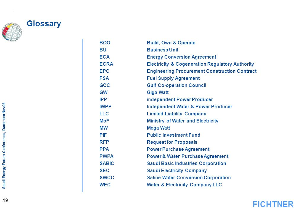 Glossary BOO Build, Own & Operate BU Business Unit