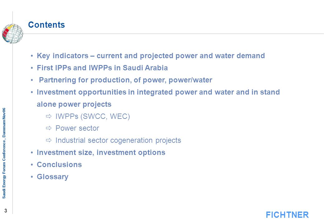 Contents Key indicators – current and projected power and water demand
