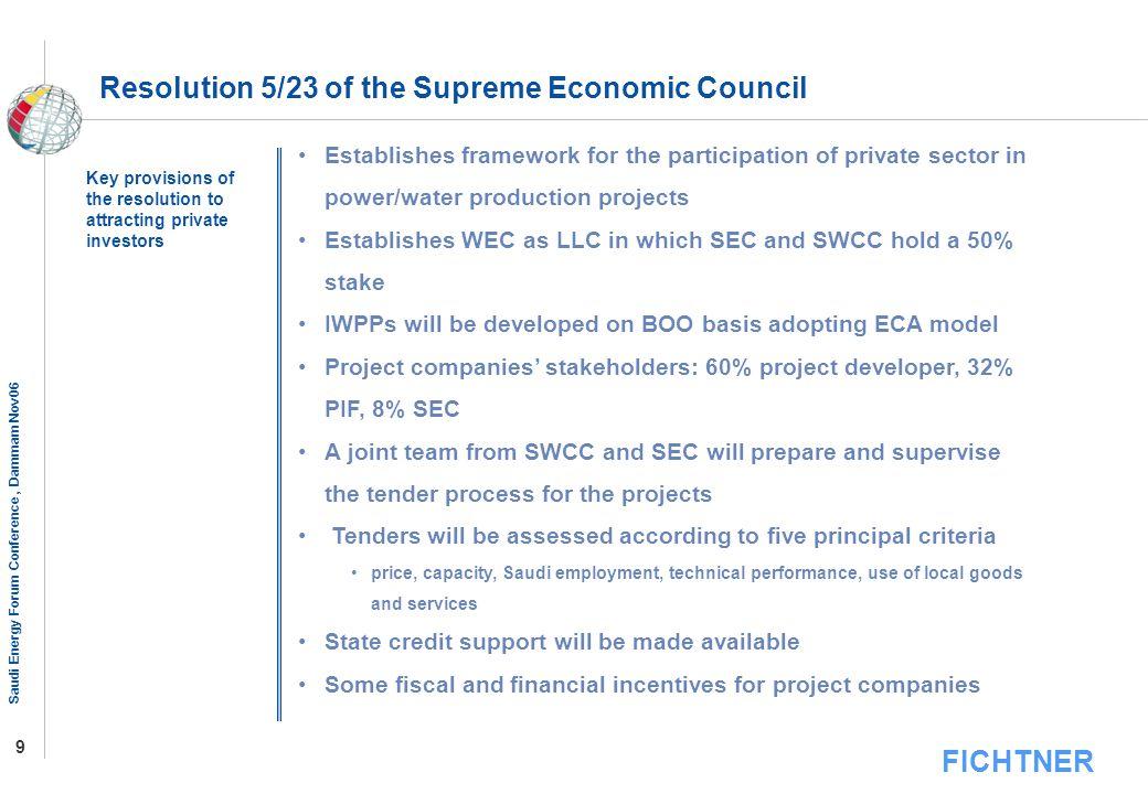 Resolution 5/23 of the Supreme Economic Council