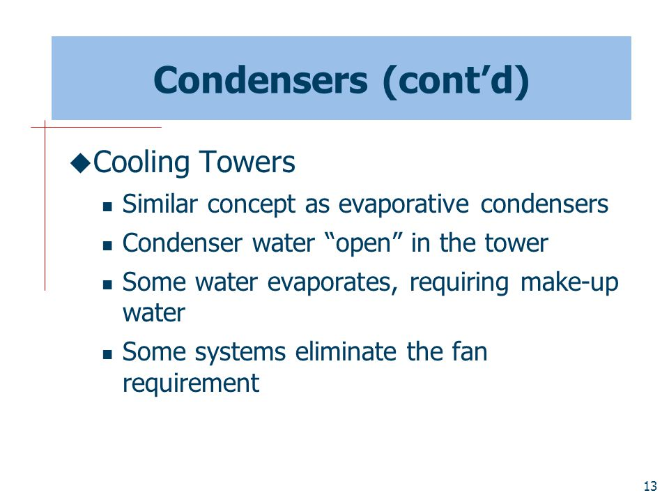 Condensers (cont'd) Cooling Towers