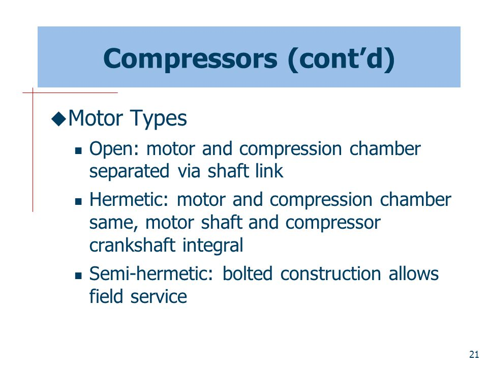 Compressors (cont'd) Motor Types