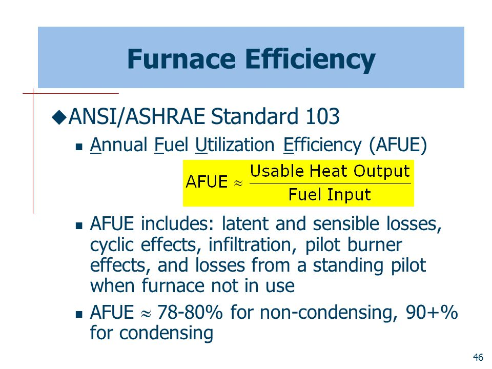 Furnace Efficiency ANSI/ASHRAE Standard 103