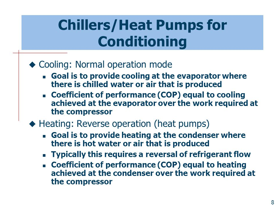 Chillers/Heat Pumps for Conditioning