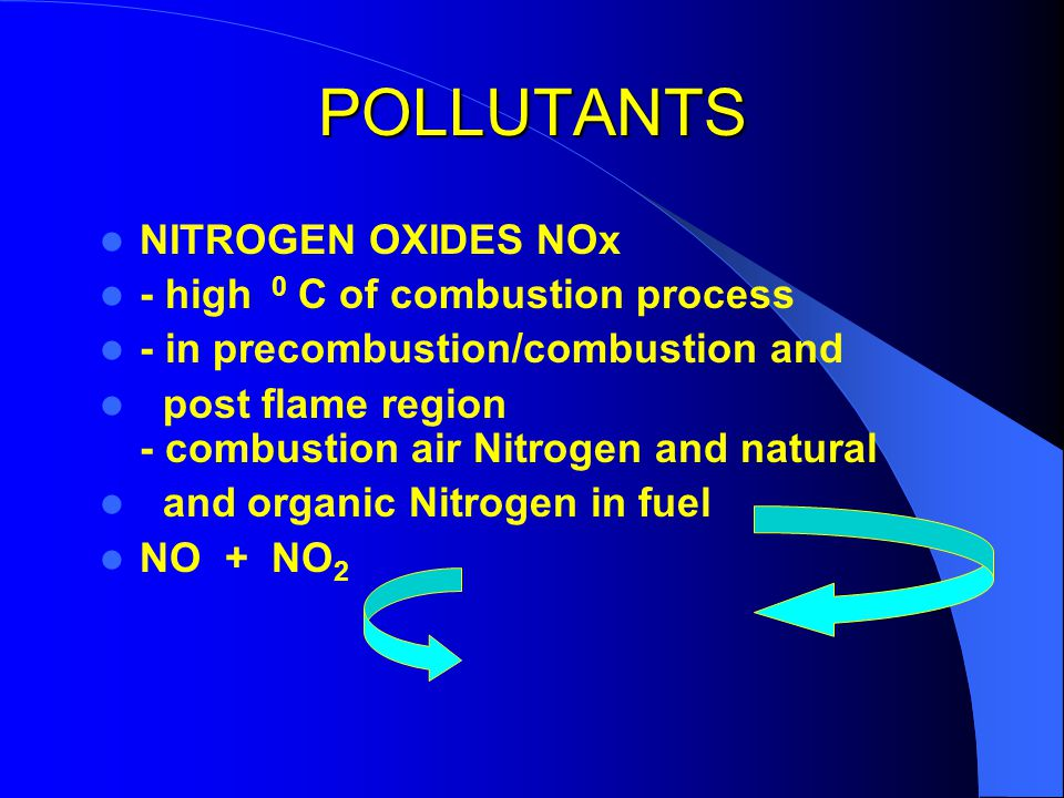 POLLUTANTS NITROGEN OXIDES NOx - high 0 C of combustion process
