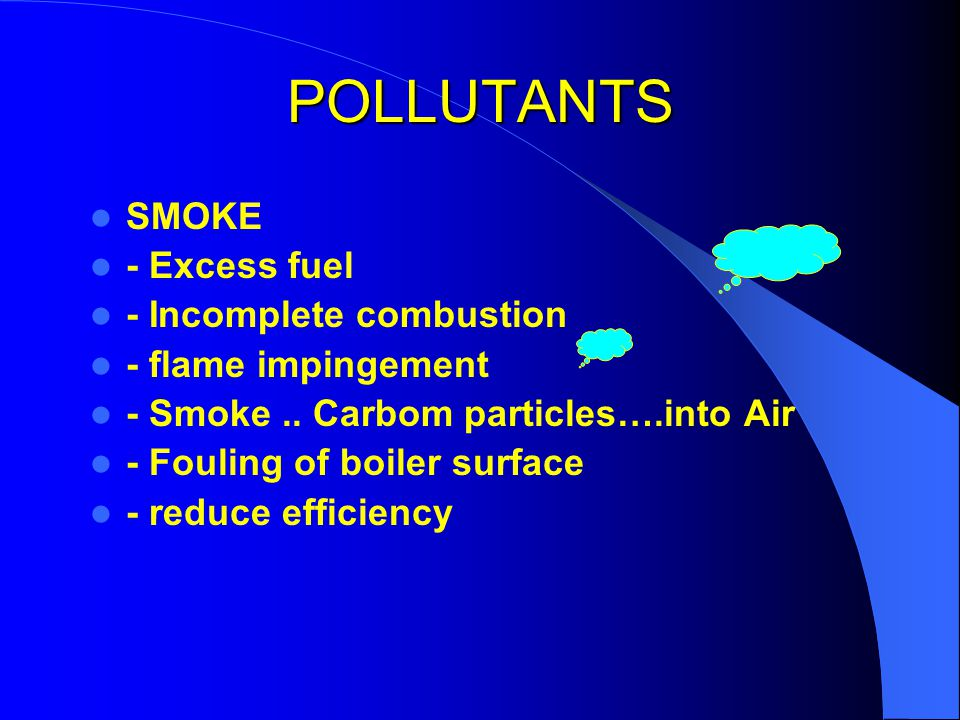 POLLUTANTS SMOKE - Excess fuel - Incomplete combustion