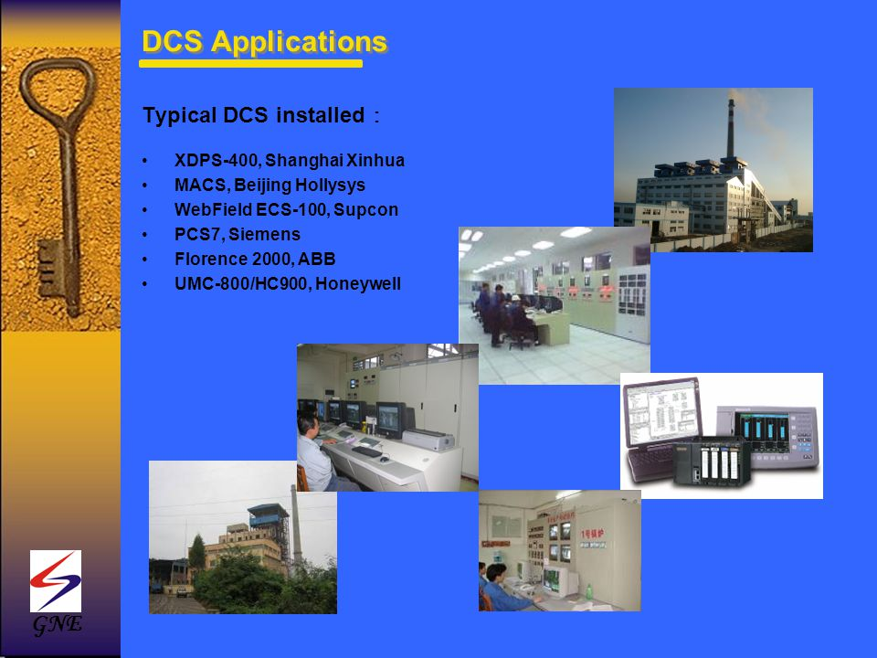 DCS Applications GNE Typical DCS installed: XDPS-400, Shanghai Xinhua
