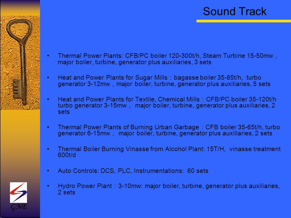 Sound Track Thermal Power Plants: CFB/PC boiler 120-300t/h, Steam Turbine 15-50mw,major boiler, turbine, generator plus auxiliaries, 3 sets.