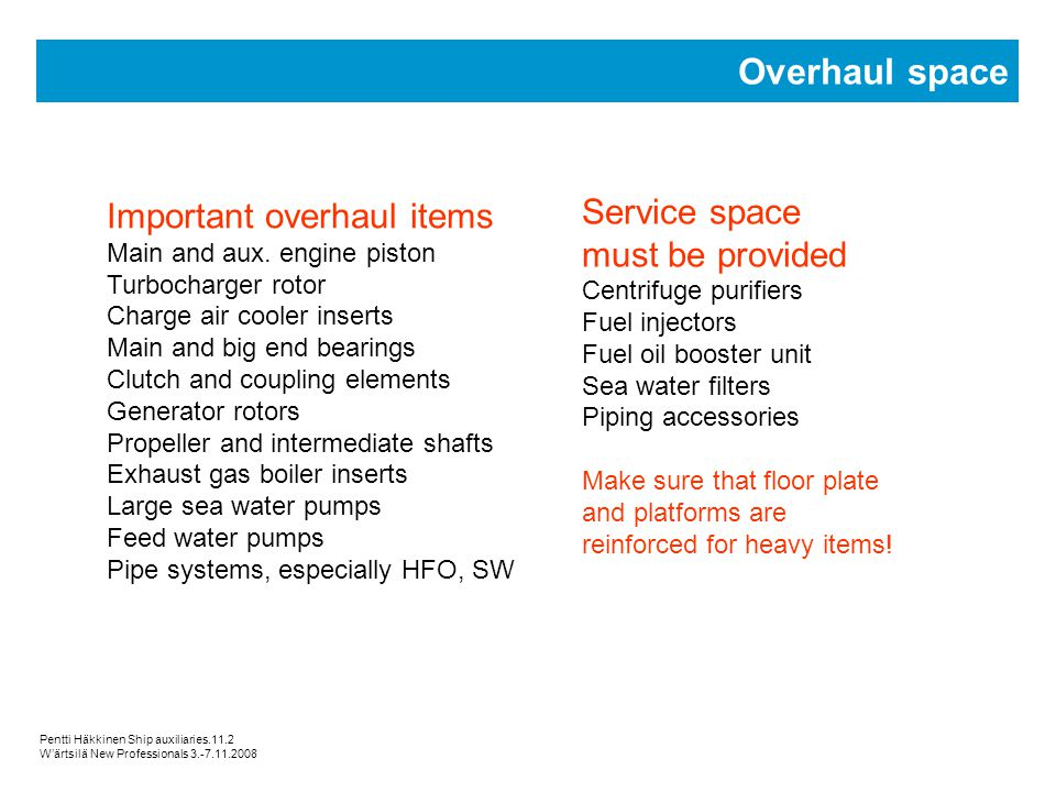 Overhaul space Service space Important overhaul items must be provided