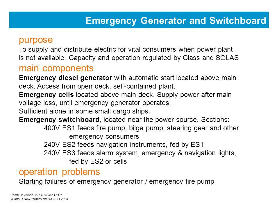 Emergency Generator and Switchboard