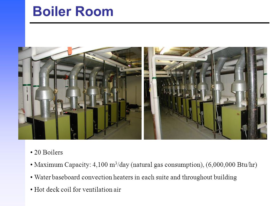 Boiler Room 20 Boilers. Maximum Capacity: 4,100 m3/day (natural gas consumption), (6,000,000 Btu/hr)