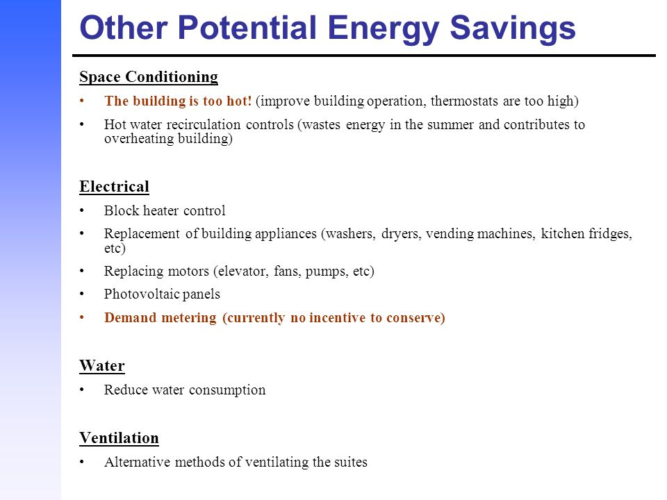 Other Potential Energy Savings